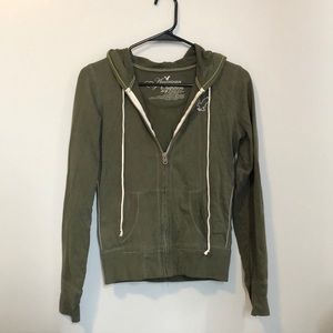 American Eagle Outfitters XS olive full zip hoodie